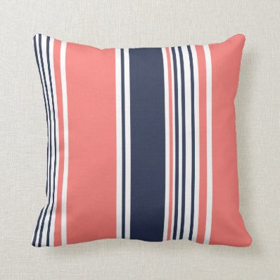 Pink and Blue Modern Stripes Throw Pillows