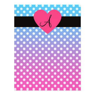 """Pink and blue monogram heart 8.5"""" x 11"""" flyer"""