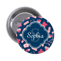 Pink and Blue Nurse Pattern with Monogram Button