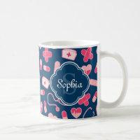 Pink and Blue Nurse Pattern with Monogram Coffee Mug