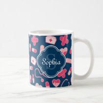 Pink and Blue Nurse Pattern with Monogram Coffee Mug