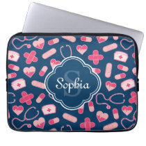 Pink and Blue Nurse Pattern with Monogram Computer Sleeve