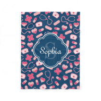 Pink and Blue Nurse Pattern with Monogram Fleece Blanket