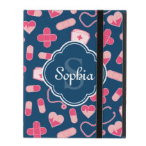 Pink and Blue Nurse Pattern with Monogram iPad Cover
