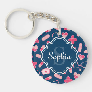 Pink and Blue Nurse Pattern with Monogram Keychain