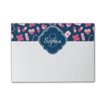 Pink and Blue Nurse Pattern with Monogram Post-it Notes