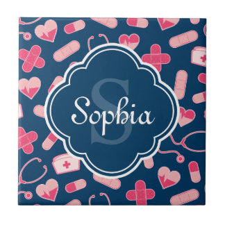Pink and Blue Nurse Pattern with Monogram Tile
