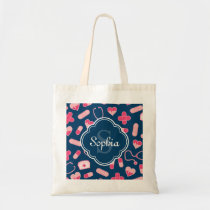 Pink and Blue Nurse Pattern with Monogram Tote Bag