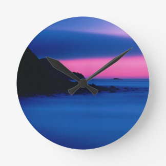 Pink and Blue Ocean Sunset Round Wall Clock