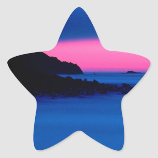 Pink and Blue Ocean Sunset Star Stickers