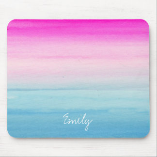 Pink and Blue Ombre Watercolor | Add Your Name Mouse Pad