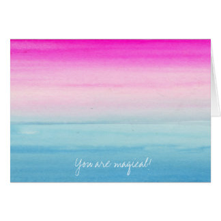 Pink and Blue Ombre Watercolor Card