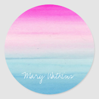Pink and Blue Ombre Watercolor Personalized Classic Round Sticker