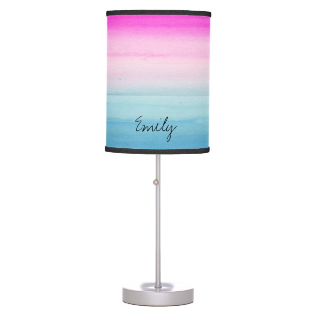 Pink and Blue Ombre Watercolor Personalized
