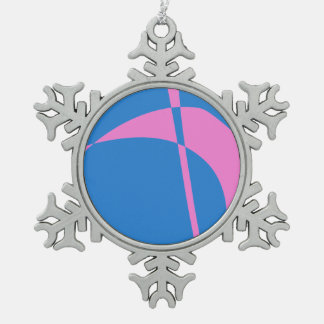 Pink and Blue Snowflake Pewter Christmas Ornament