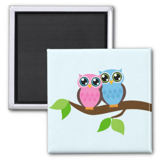 Pink and Blue Owl Couple 2 Inch Square Magnet