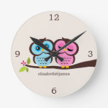 Pink and Blue Owl Couple Clock