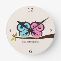 Pink and Blue Owl Couple Round Clock