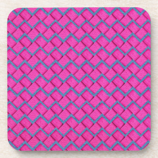 Pink and Blue Paper Zig Zag Beverage Coasters