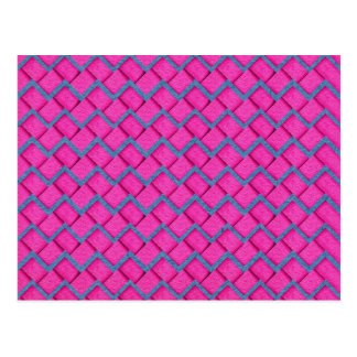 Pink and Blue Paper Zig Zag Postcard