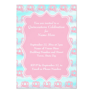 Pink and Blue Pastel Carriages Quinceanera Card