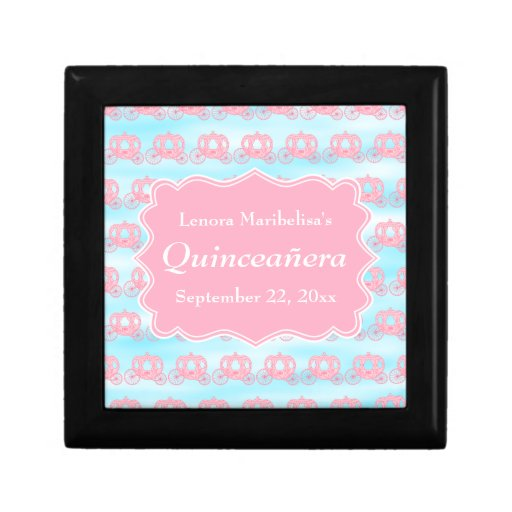 Pink and Blue Pastel Carriages Quinceanera Jewelry Boxes