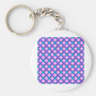 Pink and Blue Pattern Basic Round Button Keychain