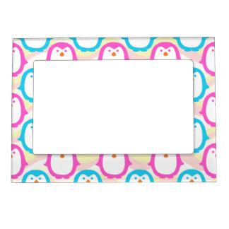 Pink and Blue Penguin Pattern Design Magnetic Frame