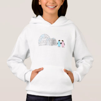 Pink and blue Penguins and igloo Hoodie