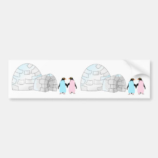Pink and Blue penguins at igloo Bumper Sticker