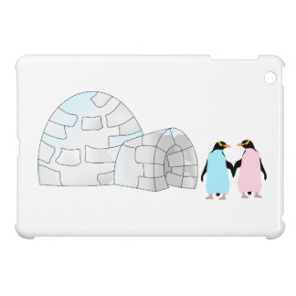 Pink and Blue penguins at igloo iPad Mini Cases