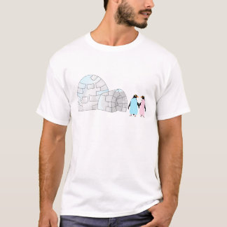 Pink and Blue penguins at igloo T-Shirt