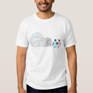 Pink and Blue penguins at igloo T-shirts