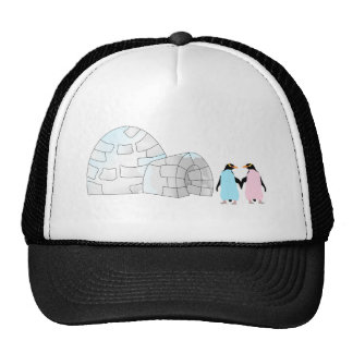 Pink and Blue penguins at igloo Trucker Hat