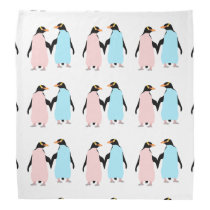 Pink and blue Penguins holding hands Bandana
