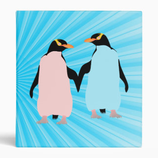 Pink and blue Penguins holding hands Binders