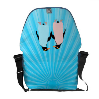 Pink and blue Penguins holding hands Courier Bag