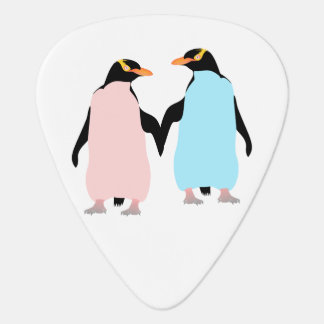 Pink and blue Penguins holding hands Guitar Pick
