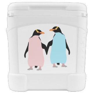 Pink and blue Penguins holding hands. Igloo Roller Cooler