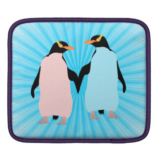 Pink and blue Penguins holding hands iPad Sleeve