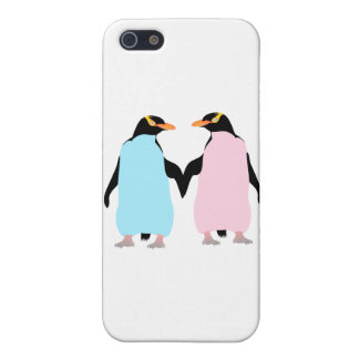 Pink and blue Penguins holding hands. iPhone SE/5/5s Case