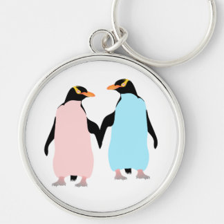 Pink and blue Penguins holding hands Silver-Colored Round Keychain
