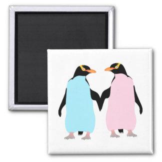 Pink and blue Penguins holding hands. Magnet