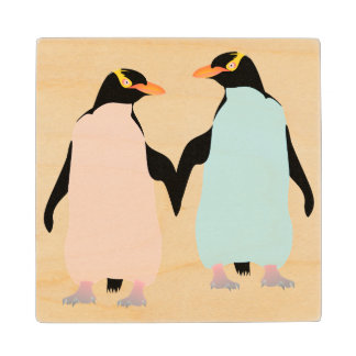 Pink and blue Penguins holding hands. Maple Wood Coaster