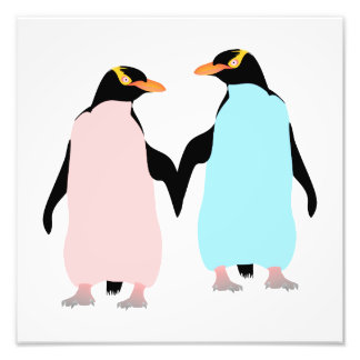 Pink and blue Penguins holding hands. Photo Print