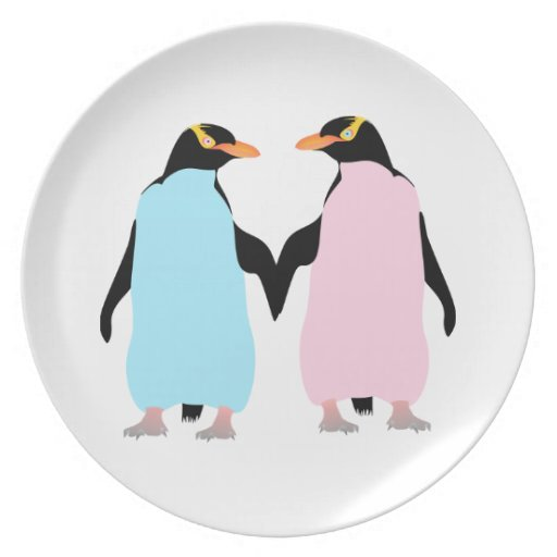 Pink and blue penguins holding hands. dinner plates