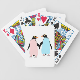 Pink and blue Penguins holding hands. Bicycle Playing Cards