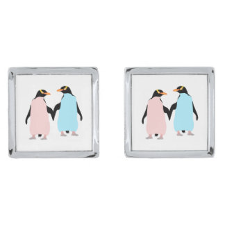 Pink and blue Penguins holding hands. Silver Finish Cuff Links