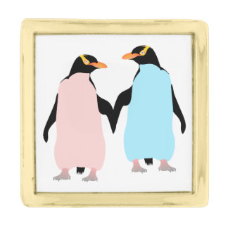 Pink and blue Penguins holding hands. Gold Finish Lapel Pin