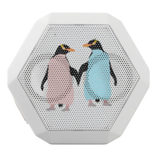 Pink and blue Penguins holding hands. White Bluetooth Speaker